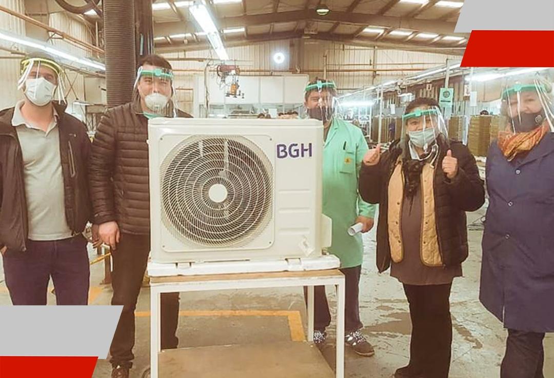 Melella celebró la salida de la primera línea de producción de equipos de aire acondicionado enAUDIVIC